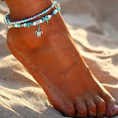 Boho Beaded Anklet For Summer Beach Starfish Conch Shell Ankle