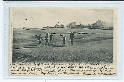 """Original 1908 Early Valentines Postcard St. Andrews' """" Golf Putting"""" - Used"""