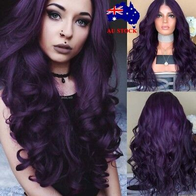 Women Long Curly Full Wig Hair Dark Purple Black Synthetic Cosplay Wig+Wig Cap