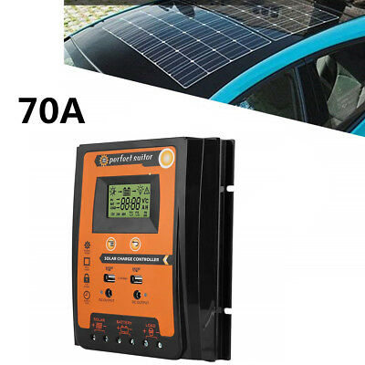 70A LCD Display Solar Charge Controller Solar Panel Battery Regulator Waterproof