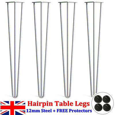 New 4X Full Welded Industrial 12mm Steel Hairpin Table Legs Free Protector Feet