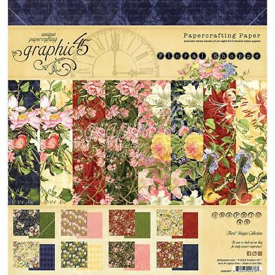 """Graphic 45 - FLORAL SHOPPE - 8x8"""" Scrapbooking Paper Pad - 24 sheets"""