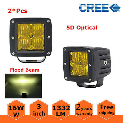 2X 3inch Amber 16W FLOOD LED Work Light Square Cube Pods Offroad Fog Bumper 5D+