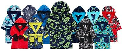 Boys Hooded Dressing Gown Soft Fleece Bathrobe Novelty Winter Housecoat Size