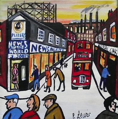 Original Northern Art Oil Painting Phil Lewis : MIll Street & Gasworks Lane