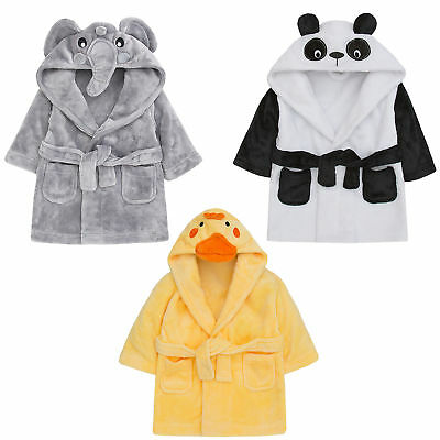 Baby Girls Boys Novelty 3D Hooded Animal Dressing Gown Bath Robe Toddler Wrap