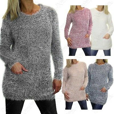 Ladies Mohair Look Soft Marl Knit Jumper With Pockets Women Long Fluffy Warm Top