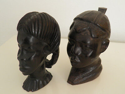 Ebony Wood Sculpture African Head  Hand Carved Vintage Tribal  Statue Black