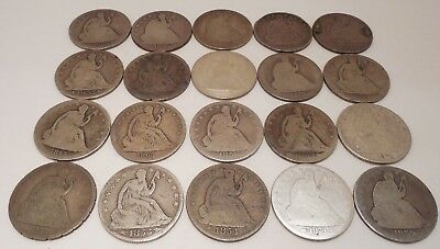 Lot of 20 - Seated Liberty Half Dollars - 50¢ - Mixed Dates - #3H