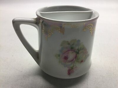 Antique Left Handed Mustache Cup With Pink Roses Germany