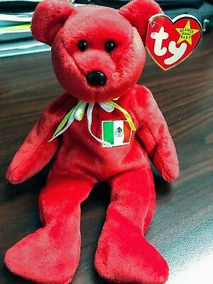 """TY Retired Beanie Baby """"OSITO"""" the Red Bear - w/Heart Tag Protector"""