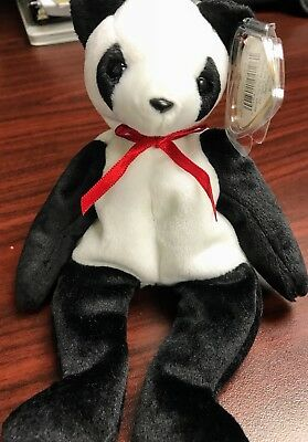 "TY Retired Beanie Baby ""FORTUNE"" the Panda - w/Heart Tag Protector"