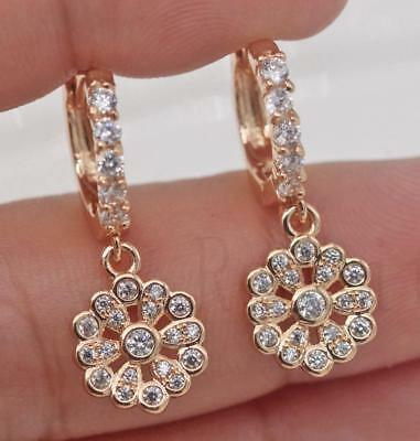 18K Gold Filled - Sunflower Round Clear Topaz Hollow Cocktail Women Earrings