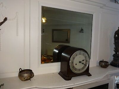 VINTAGE 1950s  BROWN BAKELITE SMITHS ENFIELD MANTEL CLOCK, NO CRACKS
