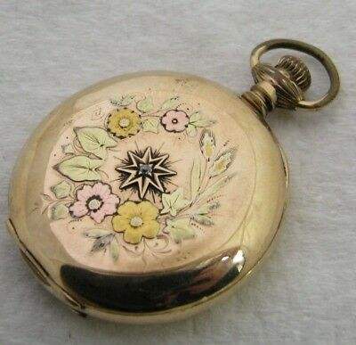 Antique 6S Waltham Multi Colored Gold Filled Diamond Hunter Case Pocket Watch