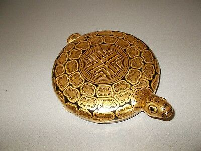 Rare vintage Burma hand made gold black lacquered turtle wooden trinket box
