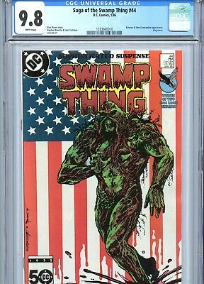 Saga of the Swamp Thing #44 CGC 9.8 White Pages Alan Moore Flag Cover 1986