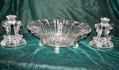 Antique Glass Square Panel Bowl with Candle holders ~  Period  Glass 1850-1915