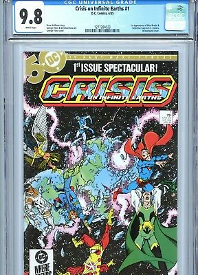Crisis on Infinite Earths #1 CGC 9.8 White Pages Perez Art 1st Blue Beetle 1985