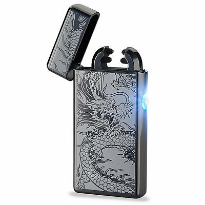 Black Gold Dragon USB Rechargeable Electric Flameless Dual Arc Lighter US ship