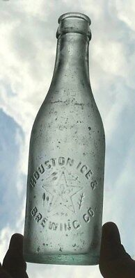 Houston Ice & Brewing Co. Texas TX Beer Bottle 1910's Star Pre-Pro
