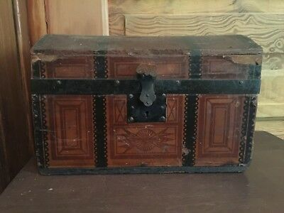 Antique Ornate Victorian Humpback Miniature Trunk Salesman Sample Circa 1880's