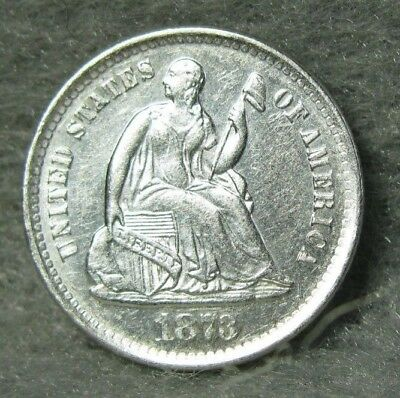 1873-S Seated Liberty Silver Half Dime Brilliant Uncirculated PROOFLIKE  US Coin