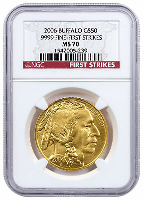 2006 $50 1 Oz Gold American Buffalo NGC MS70 FS (First Strikes) SKU16275