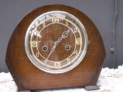Lovely Oak Cased Smiths Enfield Striking Mantle Clock