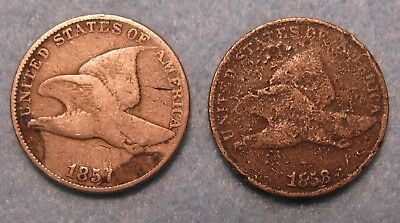 2 Piece 1857 & 1858 Flying Eagle Penny US Coin Lot
