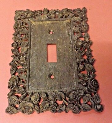 Vintage Metal Switch Cover Plate Ornate Roses