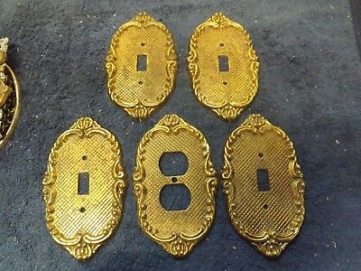 Lot of 5 Vintage Metal Brass Switch Cover Plates Outlet Ornate