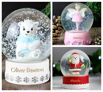 Personalised Name Only Snow Globe Christmas Xmas Shaker Ball Boys Girls