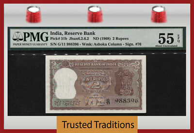 TT PK 51b ND (1968) INDIA - RESERVE BANK 2 RUPEES PMG 55 EPQ ABOUT UNCIRCULATED!