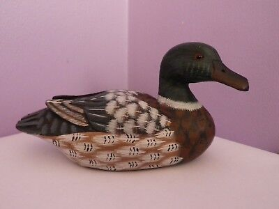 Fab Vintage Chinese Art Carved And Hand-Painted Wooden Duck Figure 16.5 Cms Long