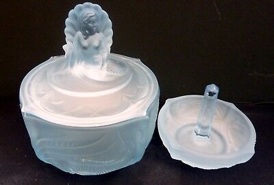 Art Deco Blue Frosted Glass Large Dressing Table Pot & Ring Holder - Walther