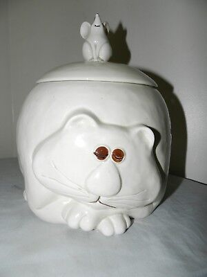 Fitz & Floyd 1977 Japan Fat Cat with Mouse Lid Collector Cookie Jar Napping Cat
