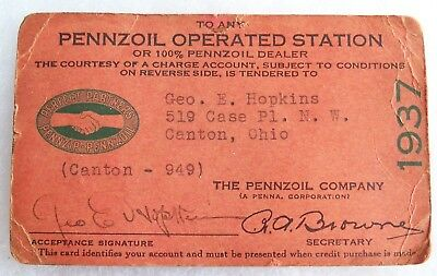 Vintage 1937 Pennzoil Gas Station Paper Credit Card - Canton Ohio
