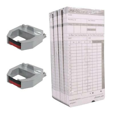 uPunch 2 Pack Ribbon/200 Card Combo for Gray HN4000 Calculating Time Clock