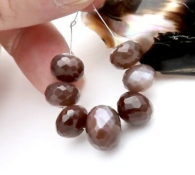 CHOCOLATE CAT'S EYE MOONSTONE STUNNING XL 9.9-13mm FACETED BEADS 7pc GORGEOUS