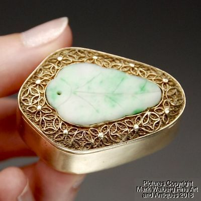 Small Chinese Gilt Silver Box with Jadeite Leaf Plaque, Early 20th Century