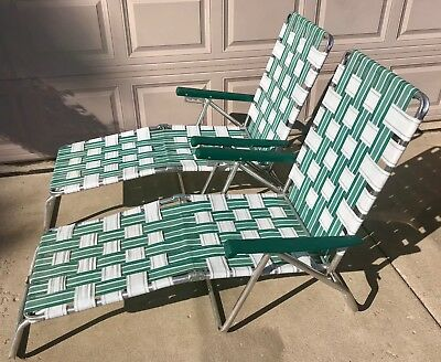 Set 2 Chaise Lounge Lawn Chairs Aluminum Webbed Folding Reclining Vintage Patio