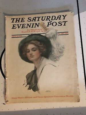 Antique Vintage Saturday Evening Post - April 8, 1911~ Harrison Fisher art