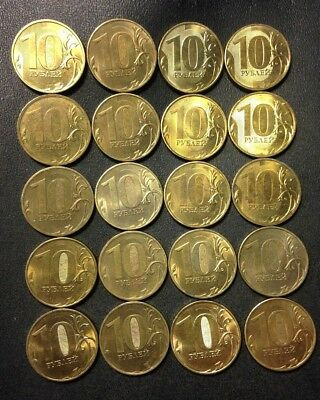 Old Russian Federation Coin Lot - 10 Rubles - 20 UNCOMMON Coins - Lot #914