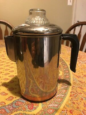 Vintage Revere Ware Pre- 68 Stainless Steel/copper Bottom  6 Cup Coffee Pot