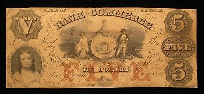 1856 $5 The Bank Of Commerce Georgia Obsolete Note  US Paper Money