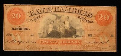 1859 $20 The Bank Of Hamburg South Carolina Obsolete Note * US Paper Money