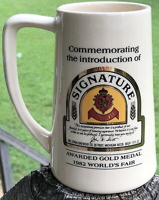 Commemorating The Introduction Of '82 World's Fair Stroh Signature Beer Stein