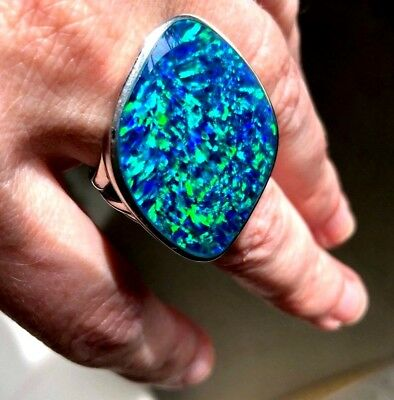 HUGE Museum Quality Opal Ring Artist Palette Sterling 17c Prototype Inlay 8 Lady
