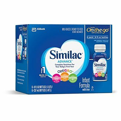 Similac Advance Infant Formula with Iron Stage 1 Ready-to-Feed Bottles, 8 Oun...
